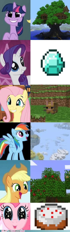 awesome,mane six,minecraft,my little pony,ponies