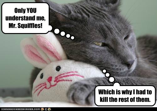 caption,captioned,cat,crazy,cuddling,friend,Hall of Fame,humans,kill,me,only,reason,rest,stuffed animal,understand,why,you