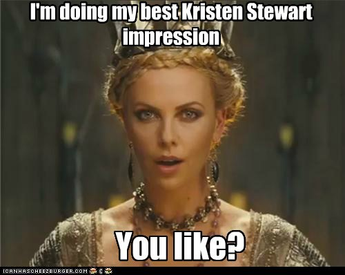 charlize theron,impression,kristen stewart,mouth open