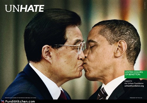 angela merkel,Ban Ki Moon,barack obama,Kim Jong-Il,make out,Nicolas Sarkozy,politicla pictures,United Colors of Benetton