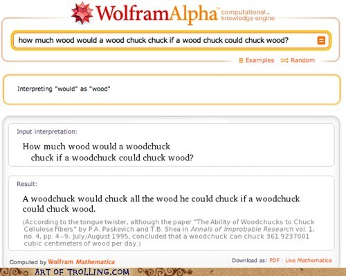 all the wood,wolfram alpha,wood,woodchuck