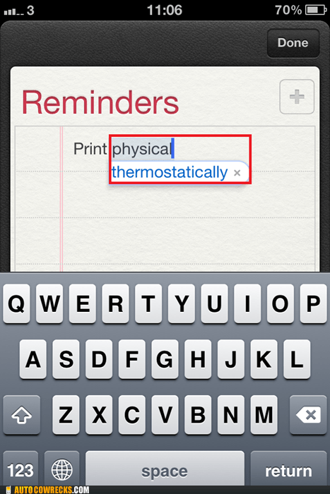 autocorrect physical print reminder reminders thermostatically