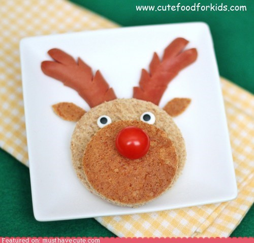 antlers bread epicute face hot dog reindeer rudolph sandwich tomato