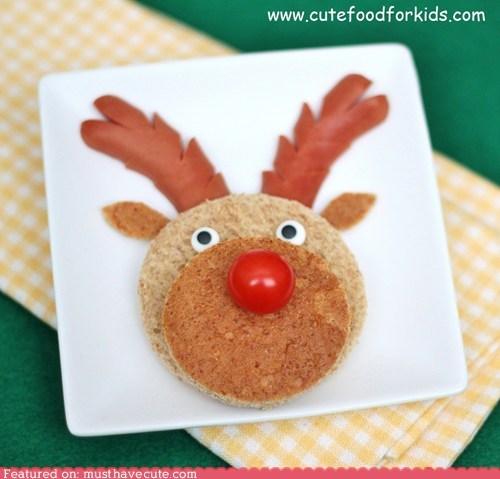 antlers bread epicute face hot dog reindeer rudolph sandwich - 5443529984
