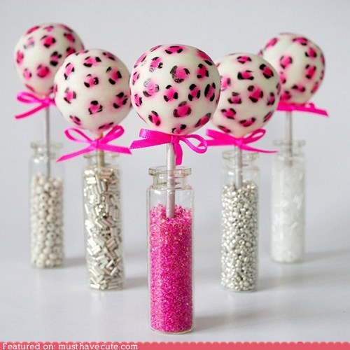 cake pops epicute girly leapoard pink ribbons sprinkles sticks - 5443642624