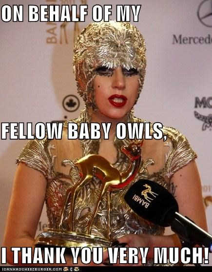 animals,Awards,fashion,lady gaga,outfits,owls,thank you