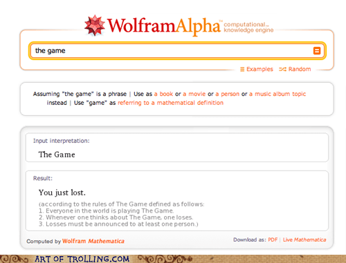 lost the game wolfram alpha - 5443762432