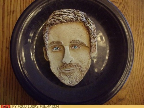 art breakfast pancakes plate portrait Ryan Gosling sexy - 5443767040