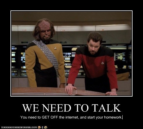homework internet Jonathan Frakes Michael Dorn Star Trek william riker Worf - 5443776512