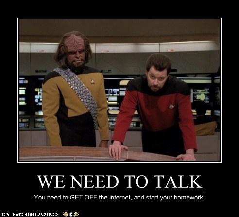 homework internet Jonathan Frakes Michael Dorn Star Trek william riker Worf - 5443776512