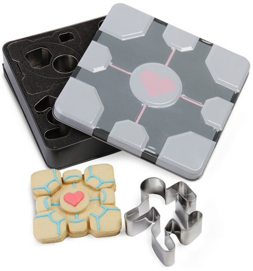 companion cube,cookie cutters,cookies,merch,Portal,ThinkGeek,video games