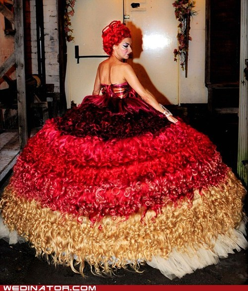 dress,funny wedding photos,hair,human hair,lady gaga,wedding dress,wedding fashion,wedding gown