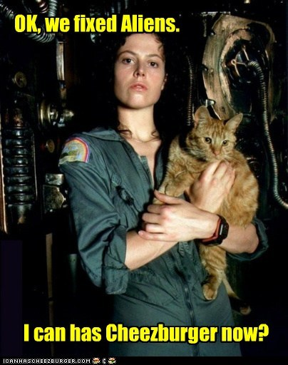 alien Aliens cat cheezburger Ellen Ripley fixed sigourney weaver
