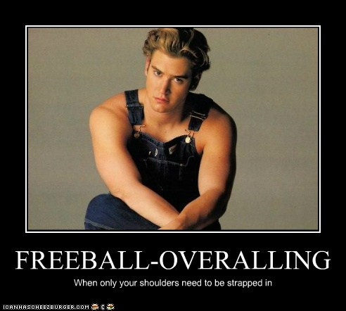 balls freeballing Mark-Paul Gosselaar overalls shoulders - 5444048128