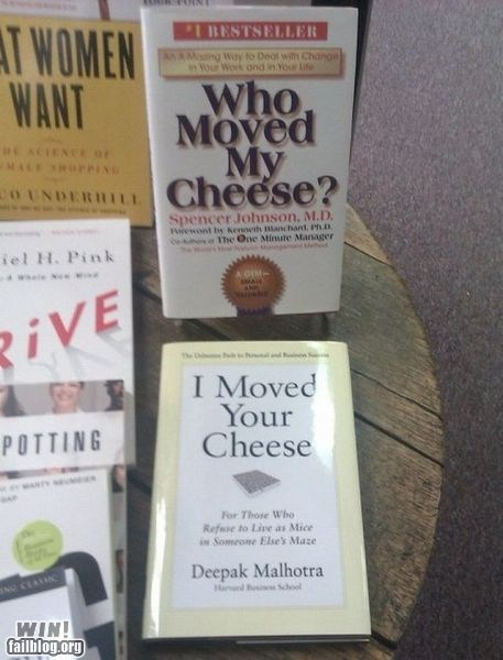 book,cheese,juxtaposition,name,self help,title