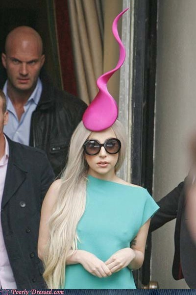 gaga watch lady gaga sperm hat strange outfits - 5444361216