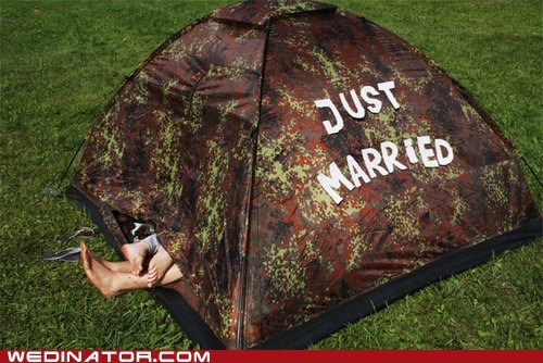 camping funny wedding photos Just Married tent - 5444471552