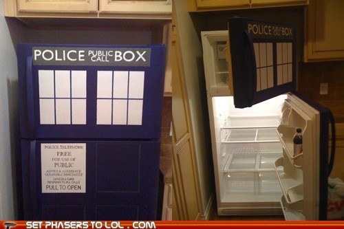 custard doctor who fish stics refrigerator tardis the doctor