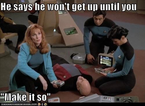 doctor beverly crusher,gates mcfadden,jean-luc picard,make it so,patrick stewart,Star Trek