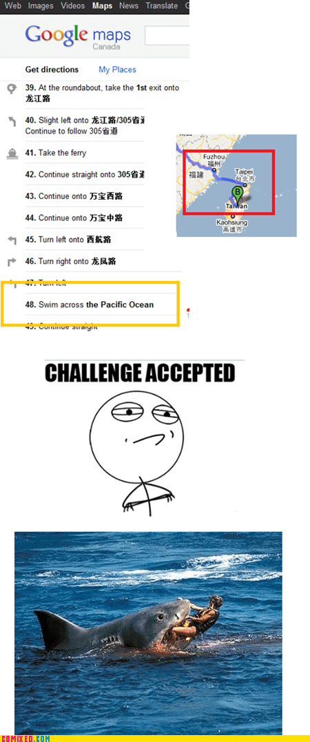 Challenge Accepted,dead,google maps,meme,shark,swim,the internets