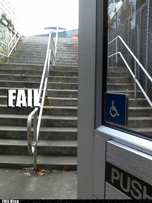 handicapped Professional At Work stairs