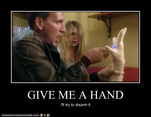 billie piper christopher eccleston doctor who hand puns rose tyler the doctor - 5444849664