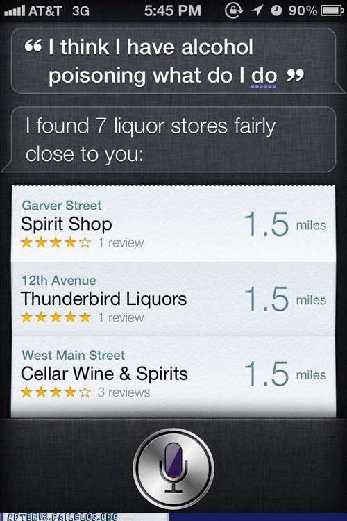 alcohol alcohol poisoning drunk iphone liquor store siri unhelpful - 5444899072