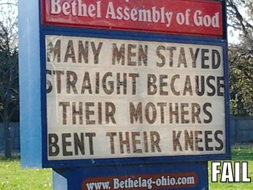 church signs gender bender innuendo religion