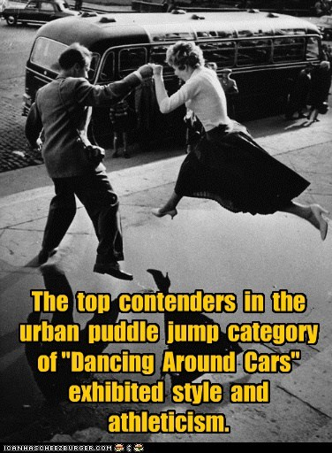 competitive dancing dance dancing high heels historic lols jump jumping leap leaping puddle vintage water - 5446109440