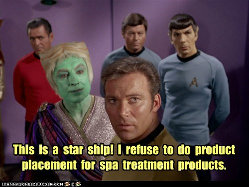 This is a star ship! I refuse to do product placement for spa treatment products.