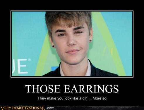 earrings girl hilarious justin bieber - 5446210816