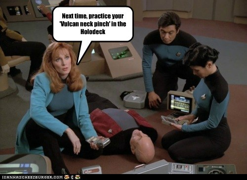 doctor beverly crusher,gates mcfadden,holodeck,patrick stewart,Star Trek,vulcan neck pinch
