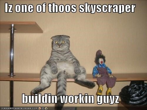 building caption captioned cat doll iconic one Photo posing recreation sitting skyscraper Staring those worker working - 5446772224