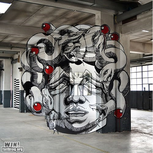 art,design,medusa,mythology,perspective,Street Art