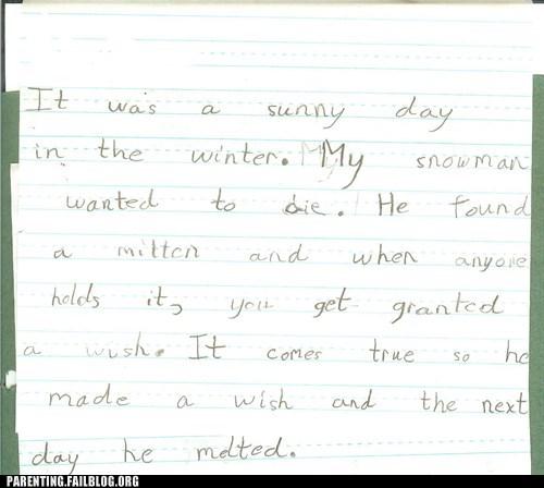 education morbid Parenting Fail school snowman story winter writing - 5447812608