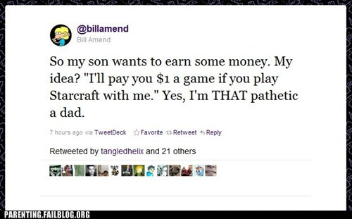 allowance celeb celebrity parenting chore nerdgasm Parenting Fail starcraft twitter video games - 5447955200