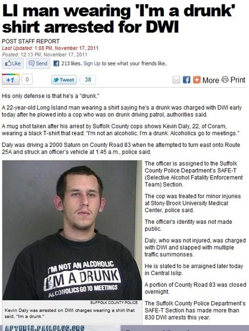 booze news,drunk,drunk driving,dwi,T.Shirt