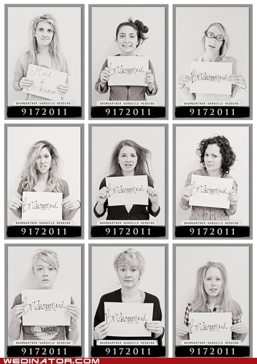 bridesmaids,funny wedding photos,lineup,Maid Of Honor,mugshots