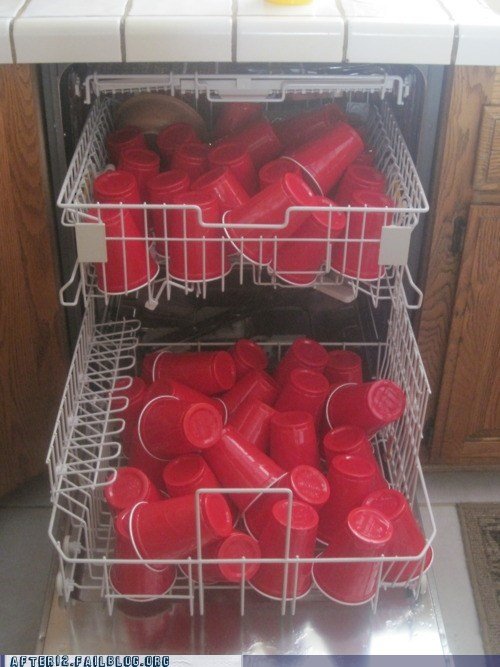 dishwasher morning after Party Red Solo Cup thousands of them