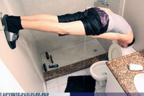 bathroom,drunk,face down,Planking,prop,toilet