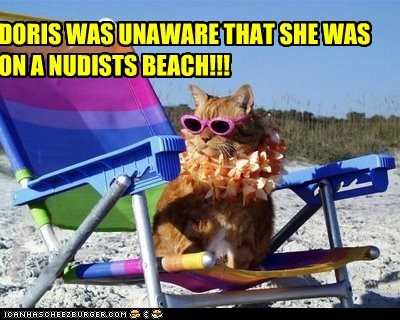 DORIS WAS UNAWARE THAT SHE WAS ON A NUDISTS BEACH!!!