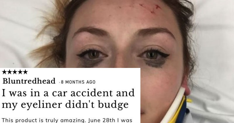 review of an eyeliner that stays on even after a car accident