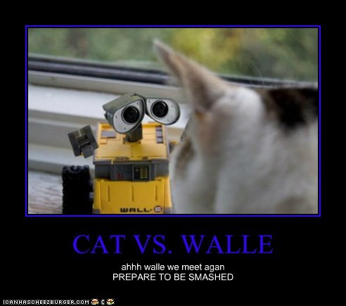 CAT VS. WALLE ahhh walle we meet agan PREPARE TO BE SMASHED