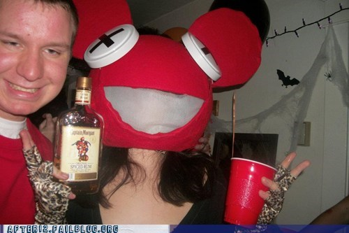 captain morgan,costume party,Deadmau5,drinking,drunk,dubstep,Rum,techno,woo girls