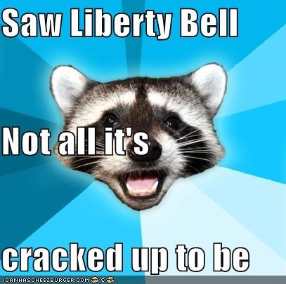 america cracked history Lame Pun Coon liberty bell - 5450303232
