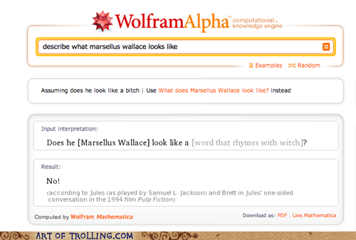 marcellus wallace,pulp fiction,wolfram alpha