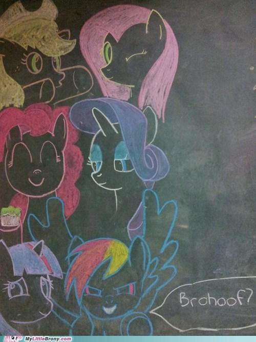 art brohoof chalkboard drawing IRL mane six ponies - 5450761472