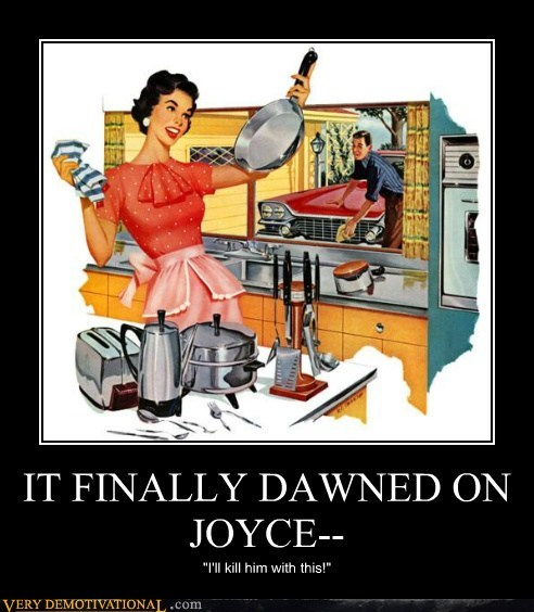 50s frying pan hilarious joyce murder - 5451758592