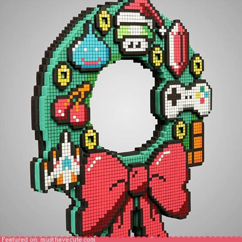 8 bit LED pixelated pixels video games wreath