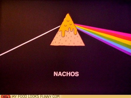 album cover chip Dark Side of the Moon nachos pink flloyd prism